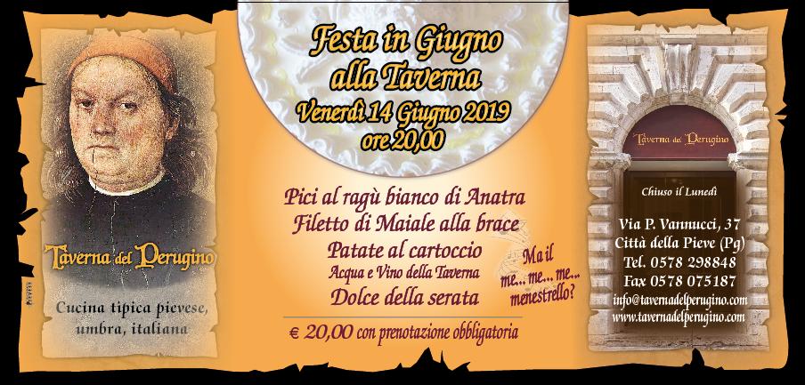 Festa in Giugno Venerdì 14 Giugno 2019 ore 20,00
